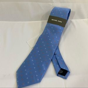 Michael Kors Checkered Blue and Pink Polka Dot Tie